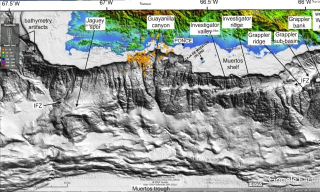 Mapa con batimetría
